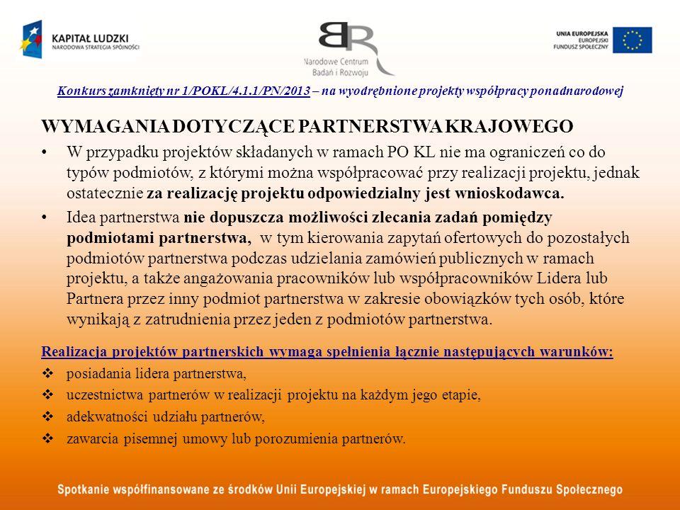 Konkurs zamknięty nr 1/POKL/4.1.1/PN/2013 – na wyodrębnione projekty współpracy ponadnarodowej WYMAGANIA DOTYCZĄCE PARTNERSTWA KRAJOWEGO W przypadku p