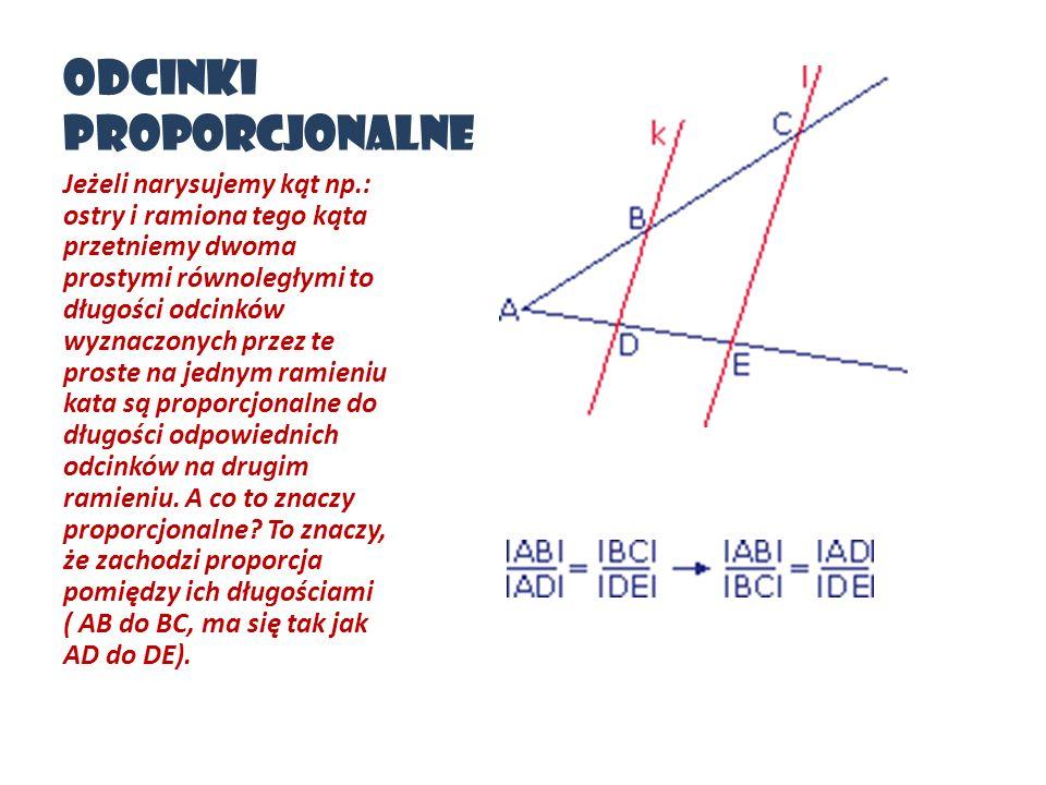 Odcinki proporcjonalne Jeżeli narysujemy kąt np.: ostry i ramiona tego kąta przetniemy dwoma prostymi równoległymi to długości odcinków wyznaczonych p