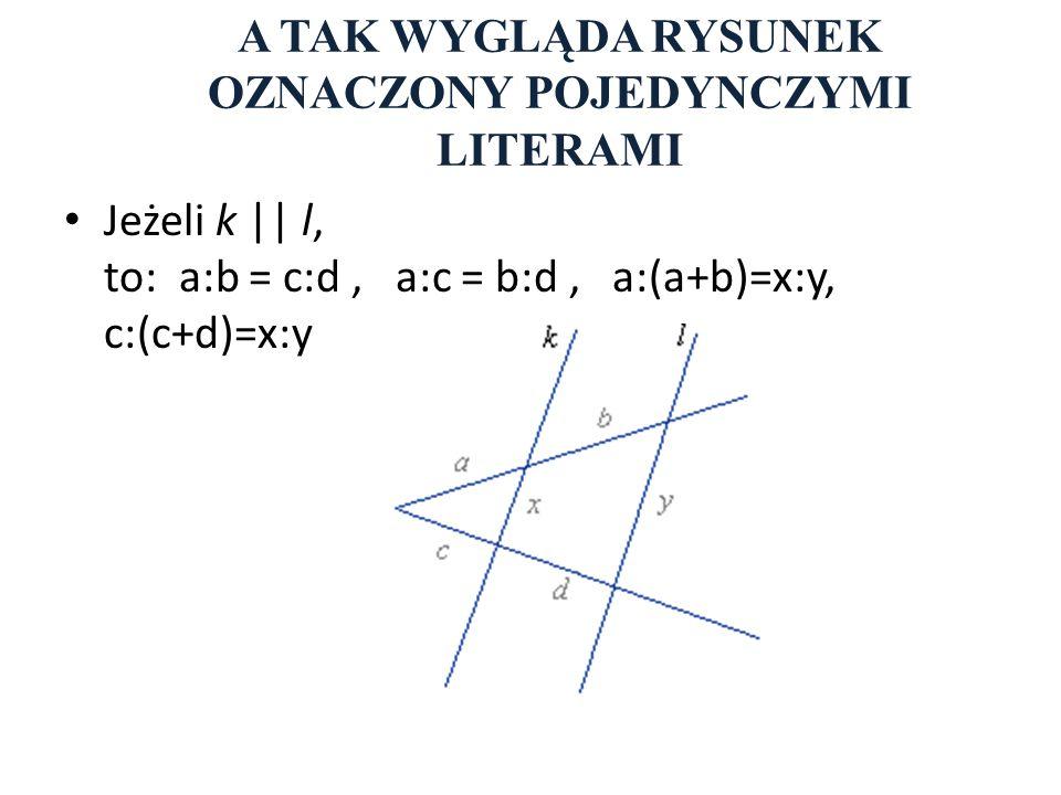 A TAK WYGLĄDA RYSUNEK OZNACZONY POJEDYNCZYMI LITERAMI Jeżeli k || l, to: a:b = c:d, a:c = b:d, a:(a+b)=x:y, c:(c+d)=x:y