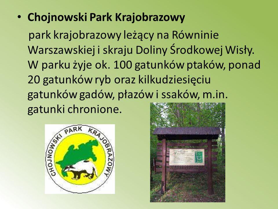Chojnowski Park Krajobrazowy park krajobrazowy leżący na Równinie Warszawskiej i skraju Doliny Środkowej Wisły. W parku żyje ok. 100 gatunków ptaków,
