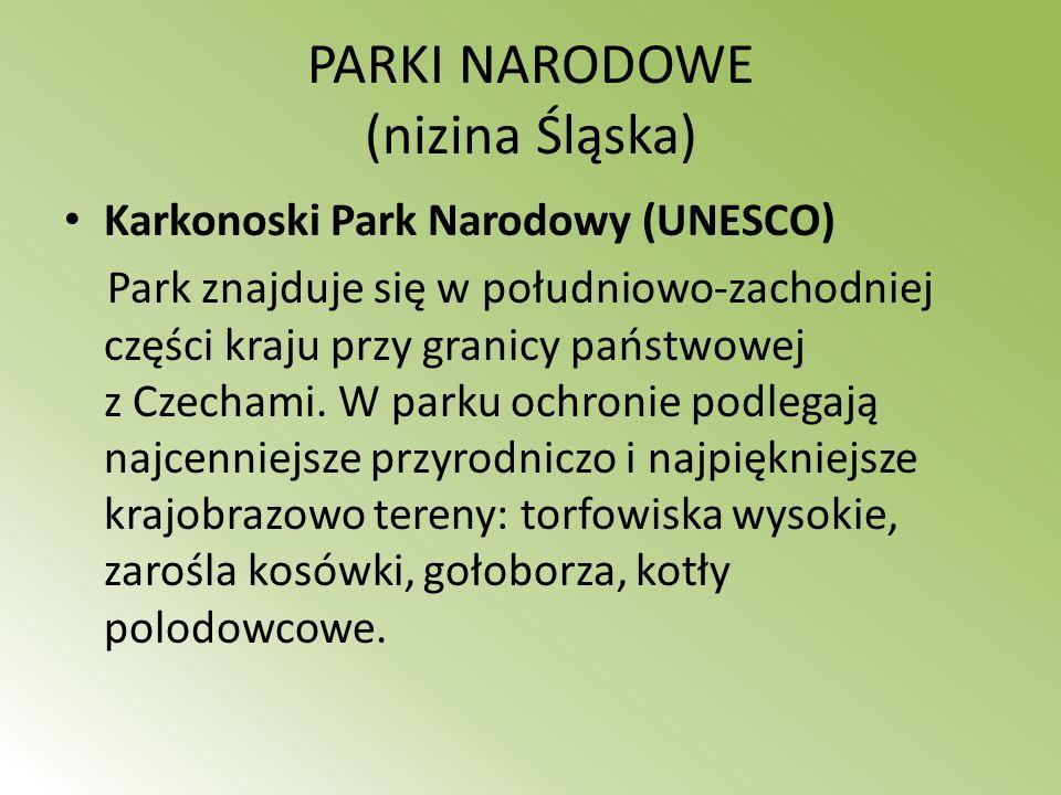 PARKI NARODOWE (nizina Śląska) Karkonoski Park Narodowy (UNESCO) Park znajduje się w południowo-zachodniej części kraju przy granicy państwowej z Czec
