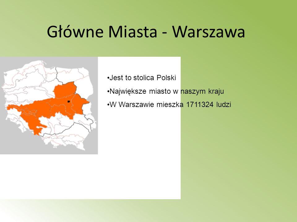 Główne Miasta - Warszawa Jest to stolica Polski Największe miasto w naszym kraju W Warszawie mieszka 1711324 ludzi