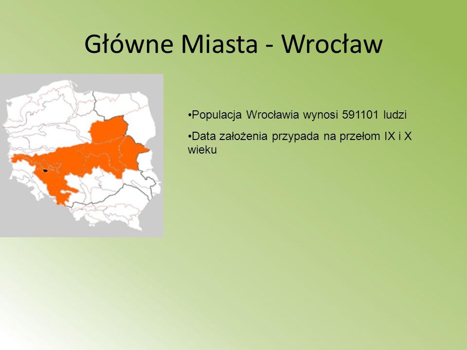 Główne Miasta - Wrocław Populacja Wrocławia wynosi 591101 ludzi Data założenia przypada na przełom IX i X wieku