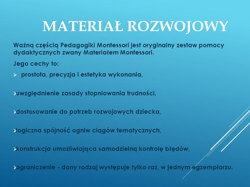 MATERIAŁ ROZWOJOWY Ważną częścią Pedagogiki Montessori jest oryginalny zestaw pomocy dydaktycznych zwany Materiałem Montessori. Jego cechy to: prostot