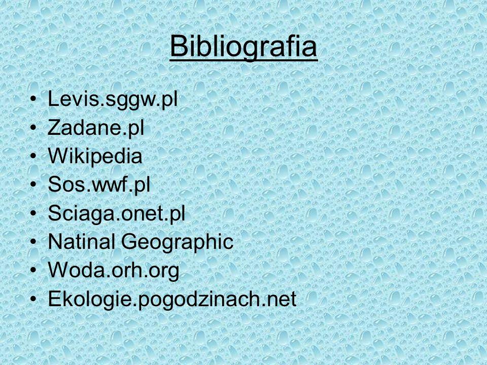Bibliografia Levis.sggw.pl Zadane.pl Wikipedia Sos.wwf.pl Sciaga.onet.pl Natinal Geographic Woda.orh.org Ekologie.pogodzinach.net