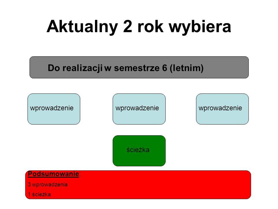 Aktualny 2 rok wybiera Do realizacji w semestrze 6 (letnim) wprowadzenie ścieżka Podsumowanie: 3 wprowadzenia 1 ścieżka