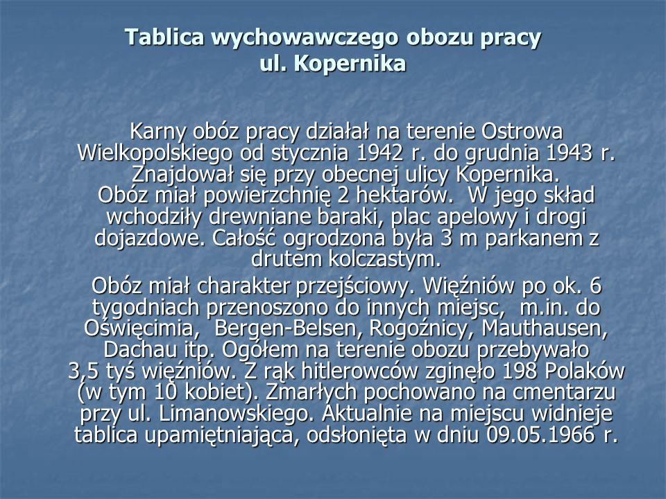 Karny obóz pracy działał na terenie Ostrowa Wielkopolskiego od stycznia 1942 r. do grudnia 1943 r. Znajdował się przy obecnej ulicy Kopernika. Obóz mi