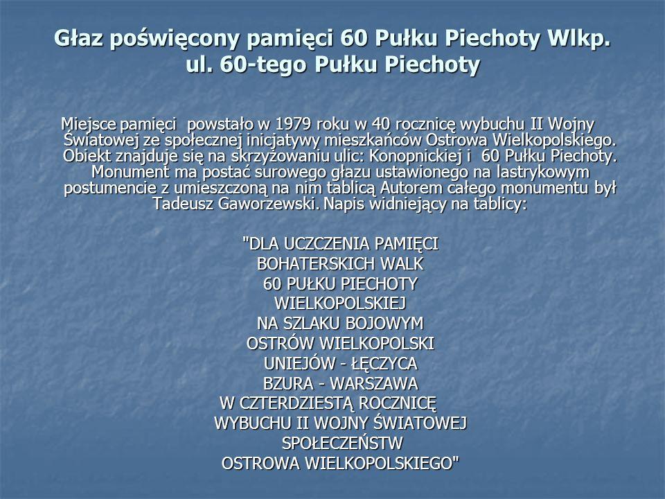 Miejsce pamięci powstało w 1979 roku w 40 rocznicę wybuchu II Wojny Światowej ze społecznej inicjatywy mieszkańców Ostrowa Wielkopolskiego. Obiekt zna