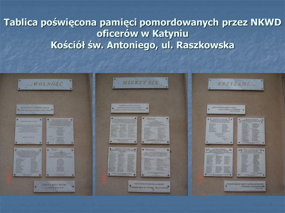 Tablica poświęcona pamięci pomordowanych przez NKWD oficerów w Katyniu Kościół św. Antoniego, ul. Raszkowska