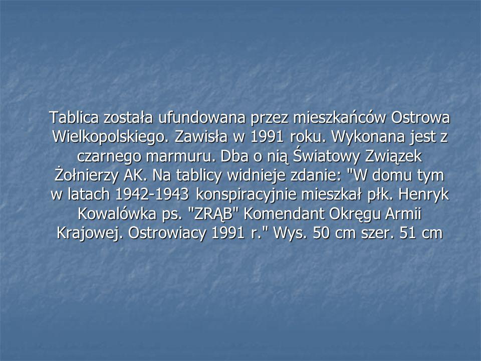 Tablica została ufundowana przez mieszkańców Ostrowa Wielkopolskiego. Zawisła w 1991 roku. Wykonana jest z czarnego marmuru. Dba o nią Światowy Związe