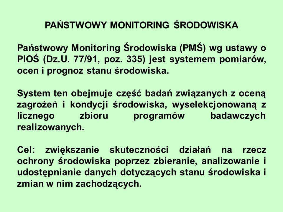 PAŃSTWOWY MONITORING ŚRODOWISKA Państwowy Monitoring Środowiska (PMŚ) wg ustawy o PIOŚ (Dz.U. 77/91, poz. 335) jest systemem pomiarów, ocen i prognoz