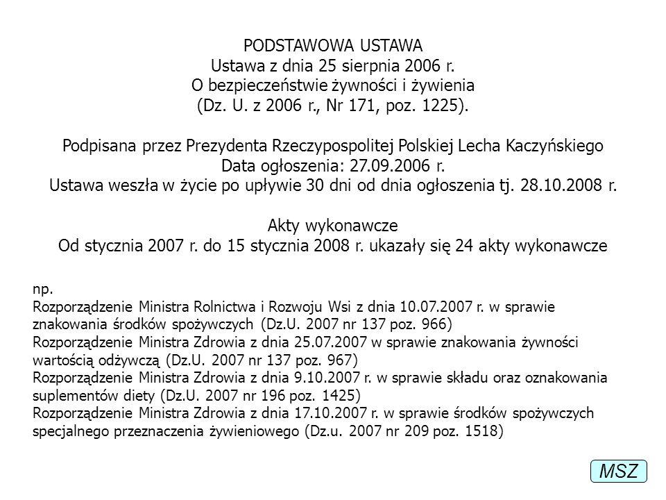 PODSTAWOWA USTAWA Ustawa z dnia 25 sierpnia 2006 r. O bezpieczeństwie żywności i żywienia (Dz. U. z 2006 r., Nr 171, poz. 1225). Podpisana przez Prezy