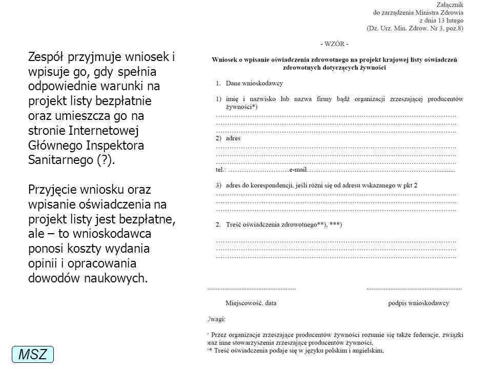 MSZ Zespół przyjmuje wniosek i wpisuje go, gdy spełnia odpowiednie warunki na projekt listy bezpłatnie oraz umieszcza go na stronie Internetowej Główn