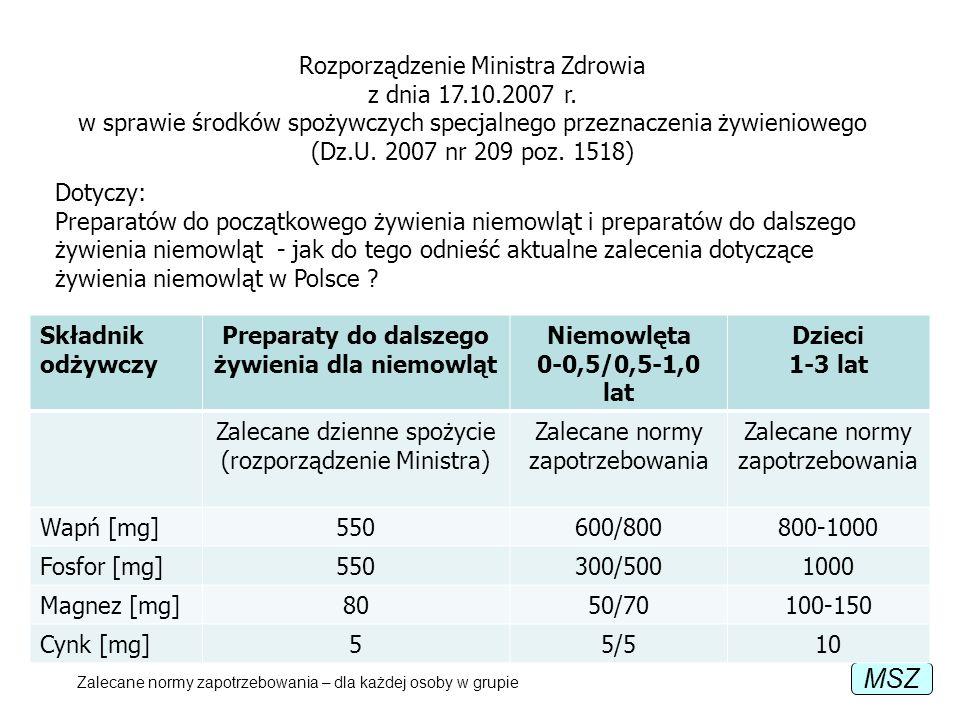MSZ Rozporządzenie Ministra Zdrowia z dnia 17.10.2007 r. w sprawie środków spożywczych specjalnego przeznaczenia żywieniowego (Dz.U. 2007 nr 209 poz.