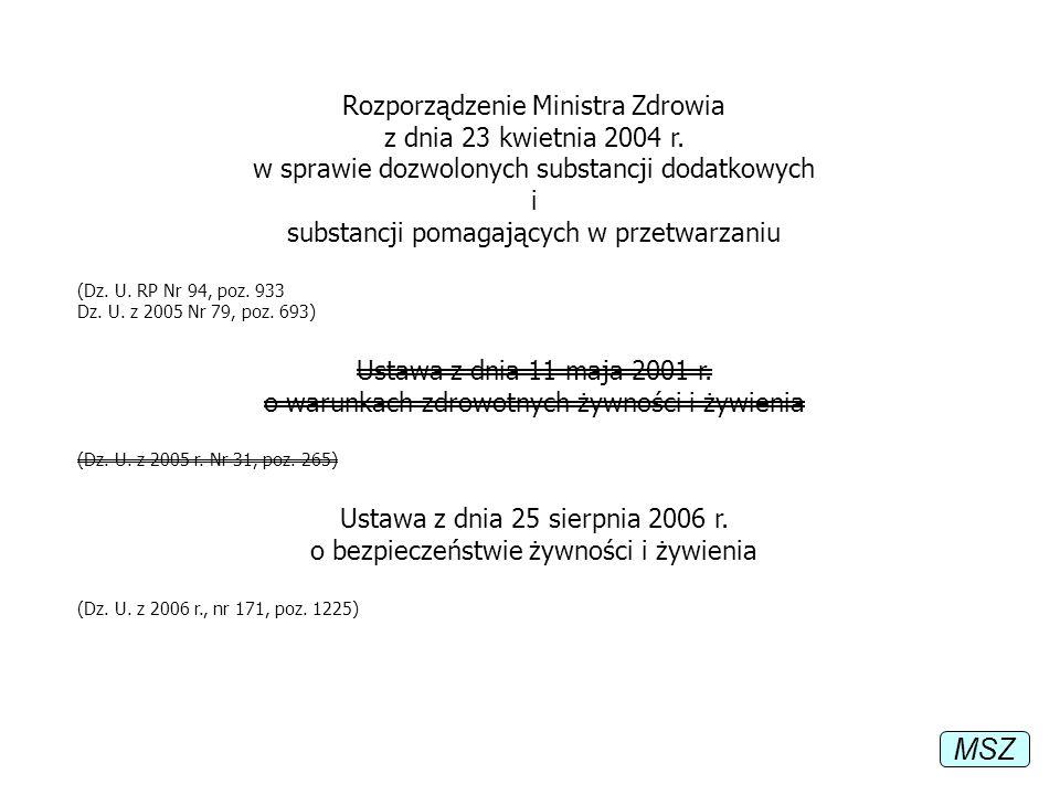 Rozporządzenie Ministra Zdrowia z dnia 23 kwietnia 2004 r. w sprawie dozwolonych substancji dodatkowych i substancji pomagających w przetwarzaniu (Dz.