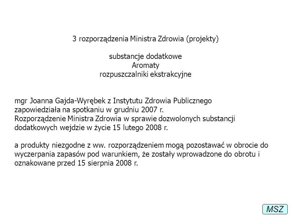 3 rozporządzenia Ministra Zdrowia (projekty) substancje dodatkowe Aromaty rozpuszczalniki ekstrakcyjne mgr Joanna Gajda-Wyrębek z Instytutu Zdrowia Pu