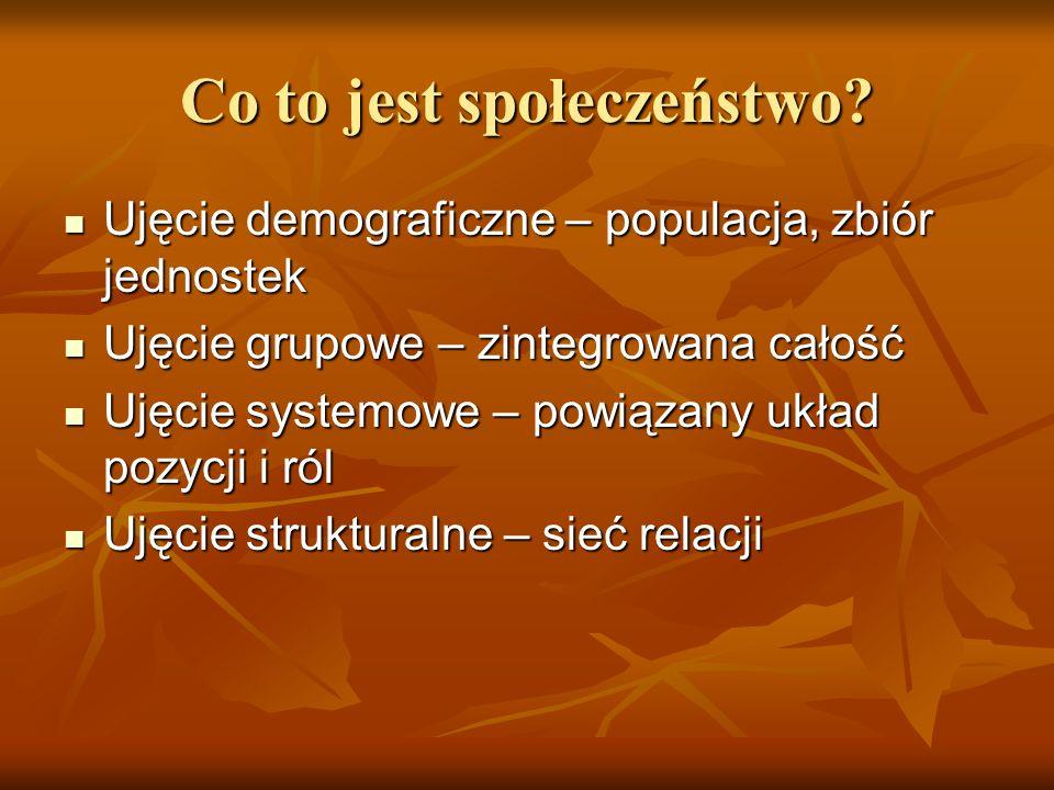 Co to jest społeczeństwo? Ujęcie demograficzne – populacja, zbiór jednostek Ujęcie demograficzne – populacja, zbiór jednostek Ujęcie grupowe – zintegr