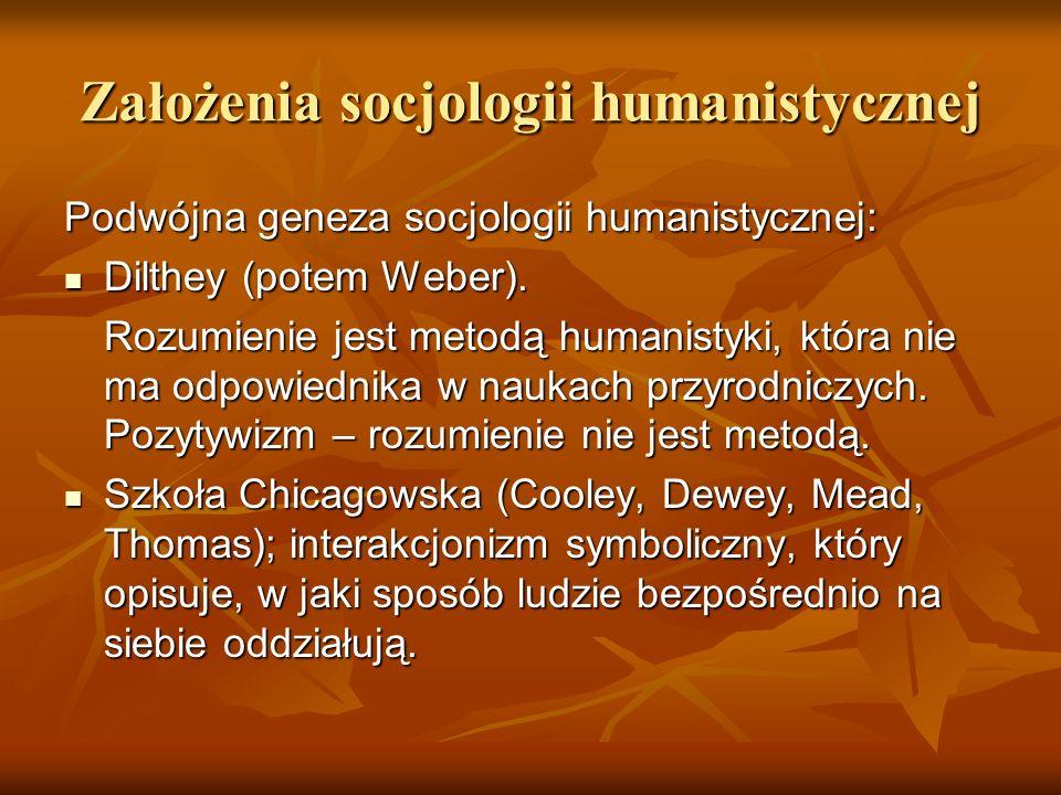 Założenia socjologii humanistycznej Podwójna geneza socjologii humanistycznej: Dilthey (potem Weber). Dilthey (potem Weber). Rozumienie jest metodą hu