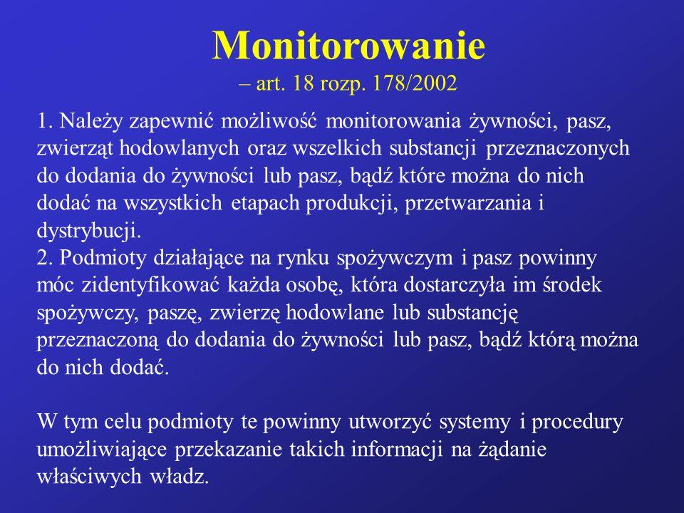 Monitorowanie – art. 18 rozp. 178/2002 1. Należy zapewnić możliwość monitorowania żywności, pasz, zwierząt hodowlanych oraz wszelkich substancji przez