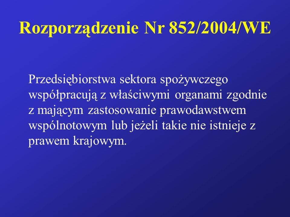 Rozporządzenie Nr 852/2004/WE Przedsiębiorstwa sektora spożywczego współpracują z właściwymi organami zgodnie z mającym zastosowanie prawodawstwem wsp