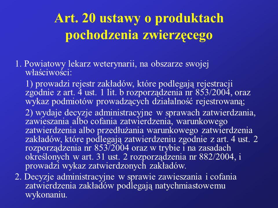 Art. 20 ustawy o produktach pochodzenia zwierzęcego 1. Powiatowy lekarz weterynarii, na obszarze swojej właściwości: 1) prowadzi rejestr zakładów, któ