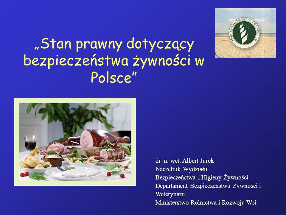Stan prawny dotyczący bezpieczeństwa żywności w Polsce dr n. wet. Albert Jurek Naczelnik Wydziału Bezpieczeństwa i Higieny Żywności Departament Bezpie