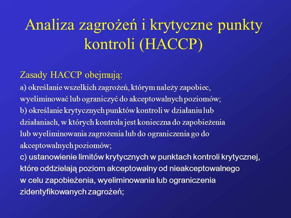 Analiza zagrożeń i krytyczne punkty kontroli (HACCP) Zasady HACCP obejmują: a) określanie wszelkich zagrożeń, którym należy zapobiec, wyeliminować lub