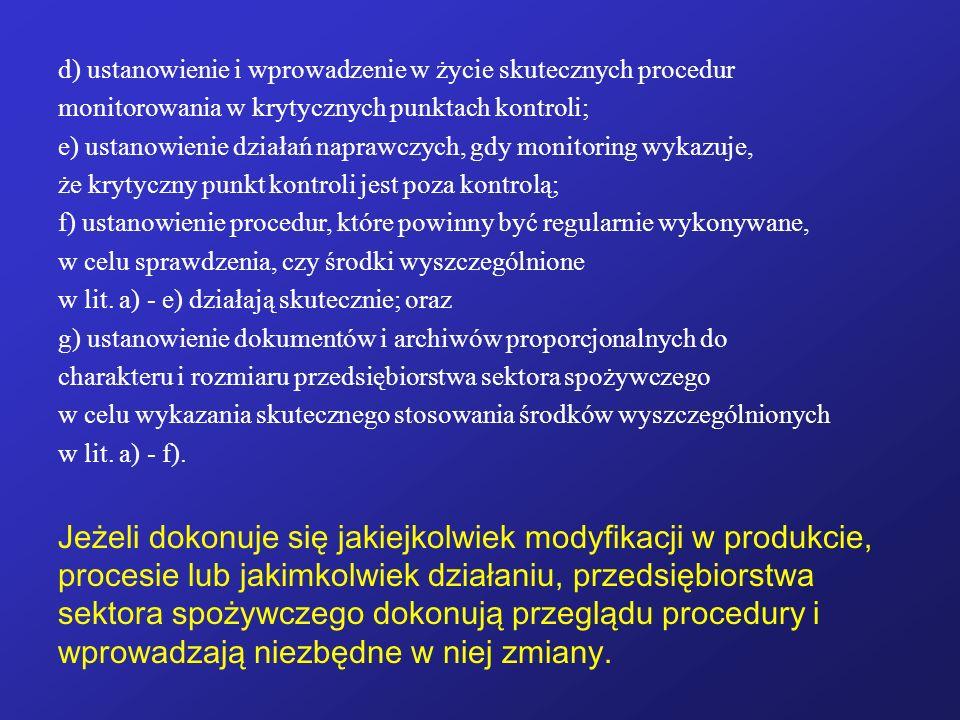 d) ustanowienie i wprowadzenie w życie skutecznych procedur monitorowania w krytycznych punktach kontroli; e) ustanowienie działań naprawczych, gdy mo