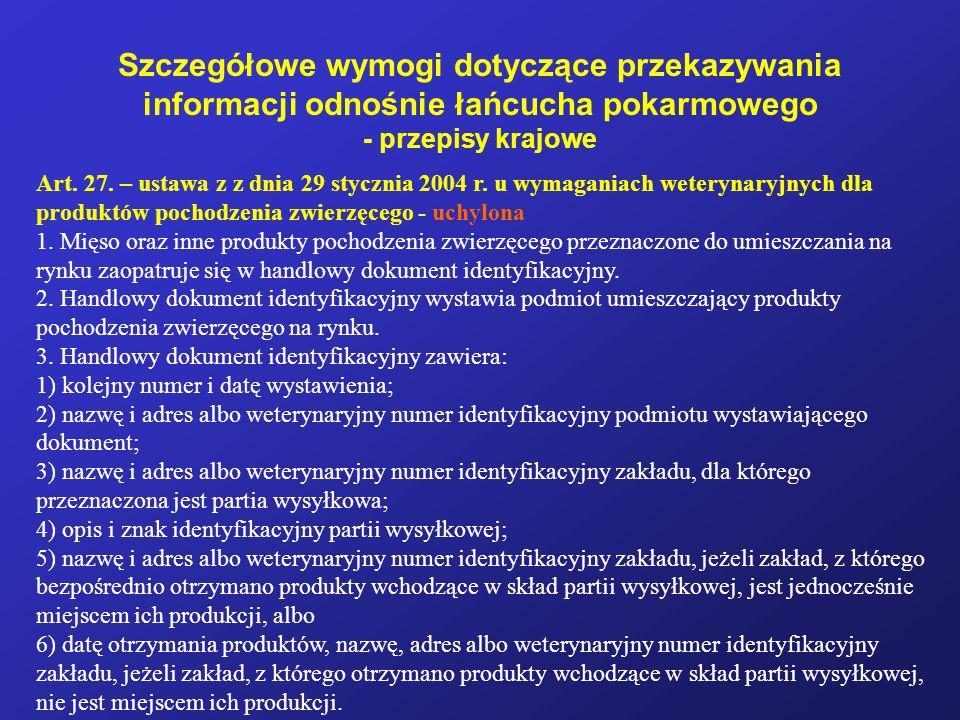Szczegółowe wymogi dotyczące przekazywania informacji odnośnie łańcucha pokarmowego - przepisy krajowe Art. 27. – ustawa z z dnia 29 stycznia 2004 r.