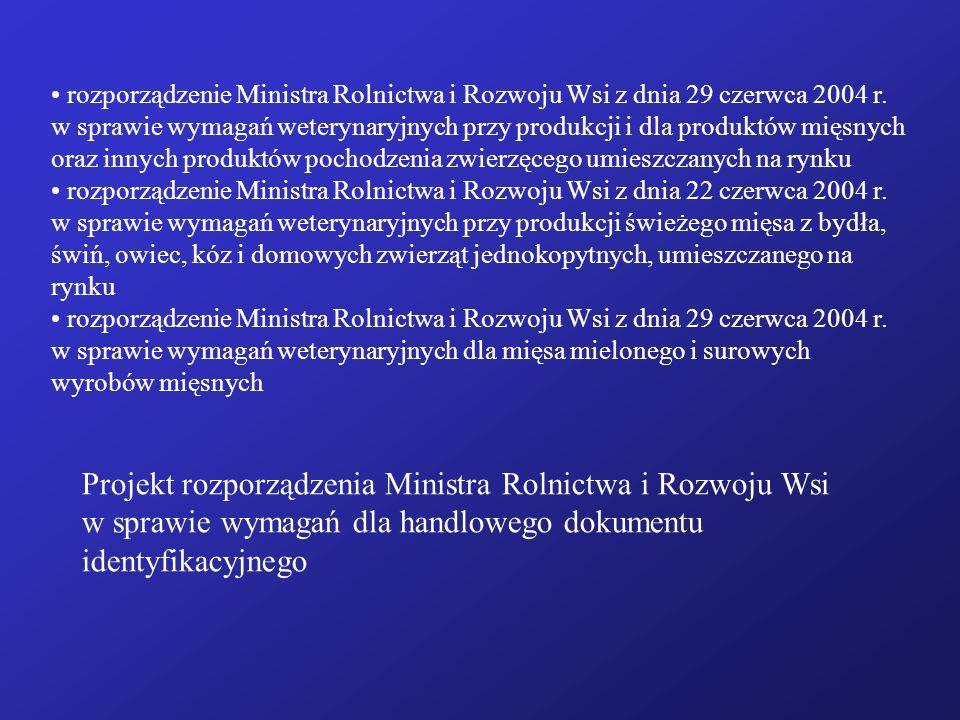 rozporządzenie Ministra Rolnictwa i Rozwoju Wsi z dnia 29 czerwca 2004 r. w sprawie wymagań weterynaryjnych przy produkcji i dla produktów mięsnych or