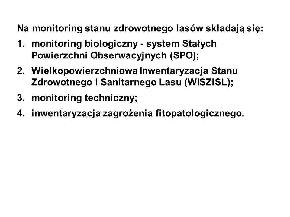 Na monitoring stanu zdrowotnego lasów składają się: 1.monitoring biologiczny - system Stałych Powierzchni Obserwacyjnych (SPO); 2.Wielkopowierzchniowa