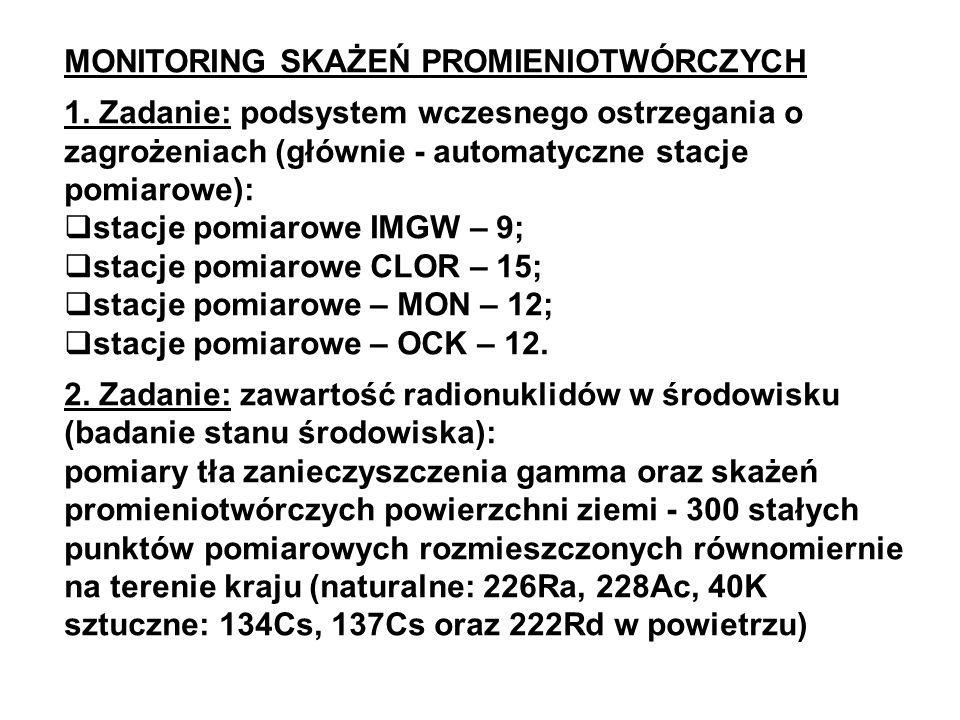 MONITORING SKAŻEŃ PROMIENIOTWÓRCZYCH 1. Zadanie: podsystem wczesnego ostrzegania o zagrożeniach (głównie - automatyczne stacje pomiarowe): stacje pomi