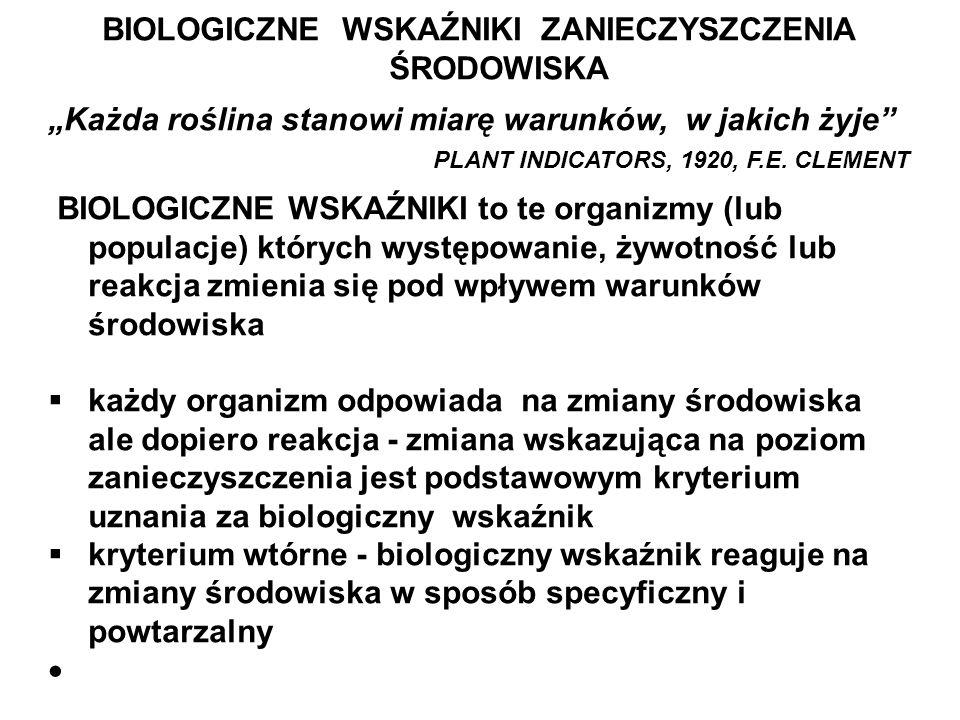 BIOLOGICZNE WSKAŹNIKI ZANIECZYSZCZENIA ŚRODOWISKA Każda roślina stanowi miarę warunków, w jakich żyje PLANT INDICATORS, 1920, F.E. CLEMENT BIOLOGICZNE