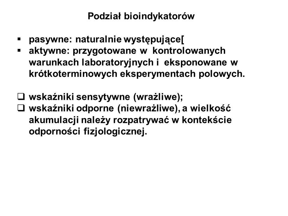 Podział bioindykatorów pasywne: naturalnie występujące[ aktywne: przygotowane w kontrolowanych warunkach laboratoryjnych i eksponowane w krótkotermino