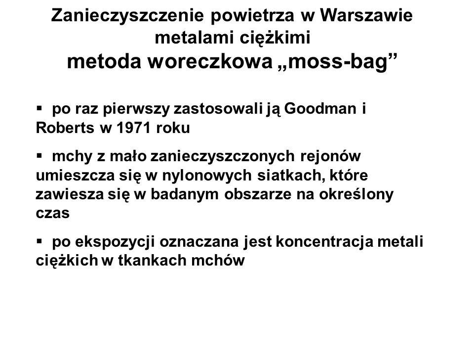 Zanieczyszczenie powietrza w Warszawie metalami ciężkimi metoda woreczkowa moss-bag po raz pierwszy zastosowali ją Goodman i Roberts w 1971 roku mchy