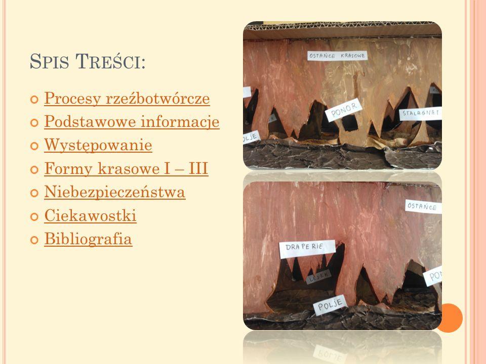 S PIS T REŚCI : Procesy rzeźbotwórcze Podstawowe informacje Występowanie Formy krasowe I – III Niebezpieczeństwa Ciekawostki Bibliografia