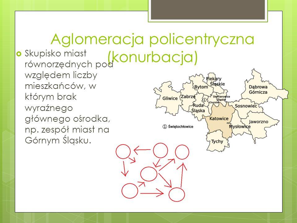 Aglomeracja policentryczna (konurbacja) Skupisko miast równorzędnych pod względem liczby mieszkańców, w którym brak wyraźnego głównego ośrodka, np. ze
