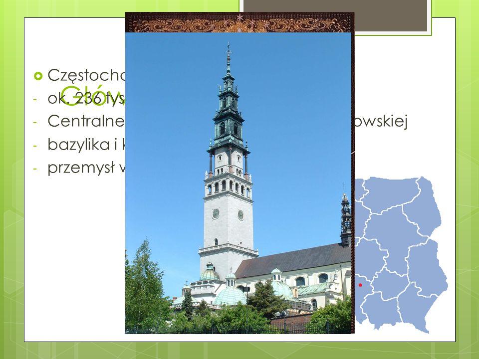 Główne miasta Częstochowa - ok. 236 tys. Mieszkańców - Centralne miasto aglomeracji częstochowskiej - bazylika i klasztor na Jasnej Górze - przemysł w