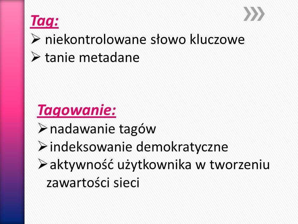 Folksonomia Społeczna klasyfikacja Tagowanie Każda osoba tagująca jest ekspertem w zakresie stosowania własnego zasobu słownictwa, Każdy tag ma równy status