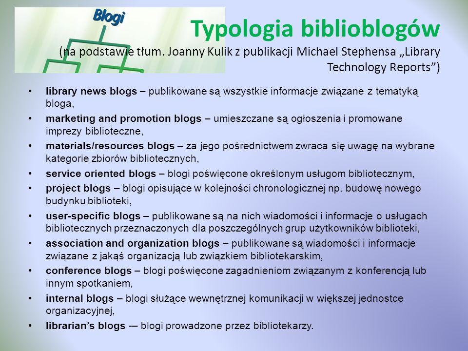Typologia biblioblogów (na podstawie tłum. Joanny Kulik z publikacji Michael Stephensa Library Technology Reports) library news blogs – publikowane są