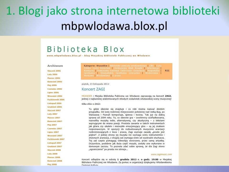 1. Blogi jako strona internetowa biblioteki mbpwlodawa.blox.pl