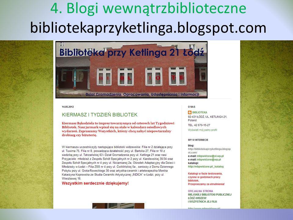 4. Blogi wewnątrzbiblioteczne bibliotekaprzyketlinga.blogspot.com