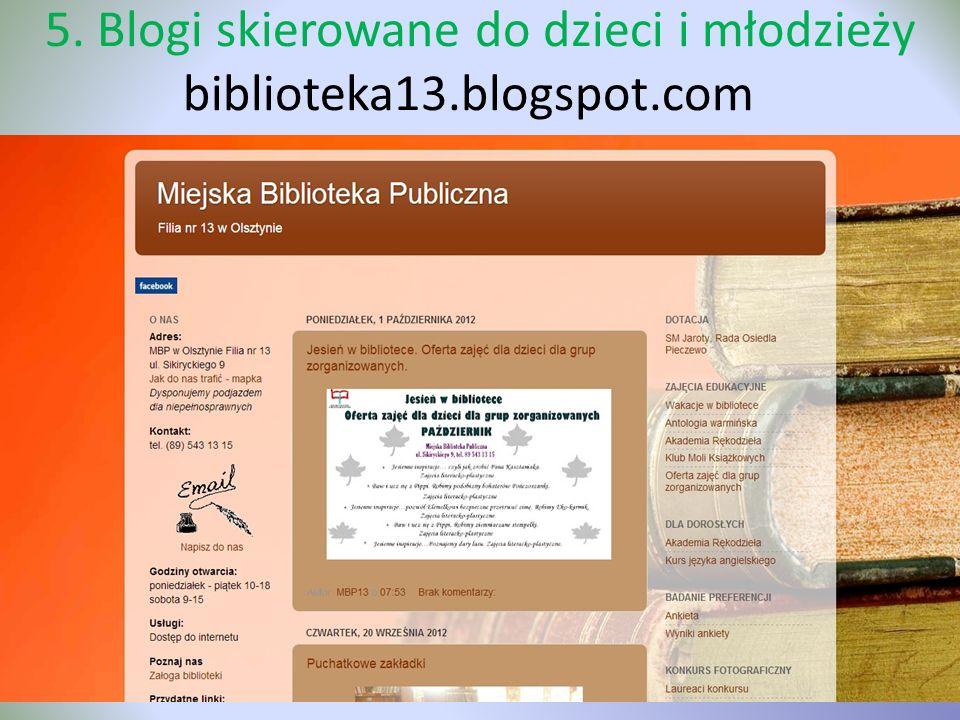 5. Blogi skierowane do dzieci i młodzieży biblioteka13.blogspot.com