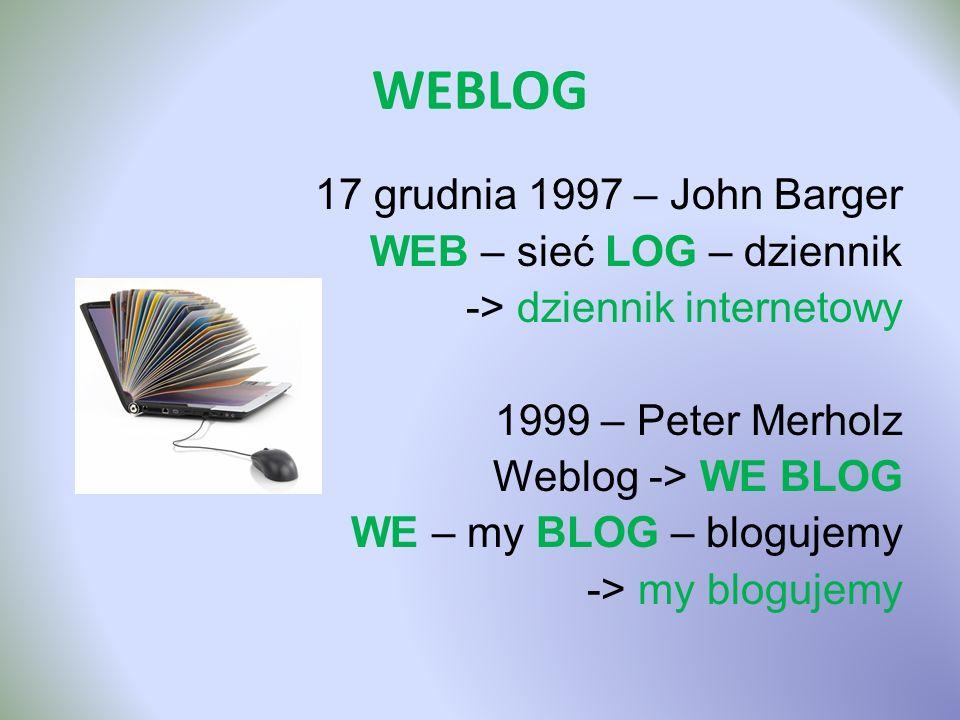 WEBLOG 17 grudnia 1997 – John Barger WEB – sieć LOG – dziennik -> dziennik internetowy 1999 – Peter Merholz Weblog -> WE BLOG WE – my BLOG – blogujemy