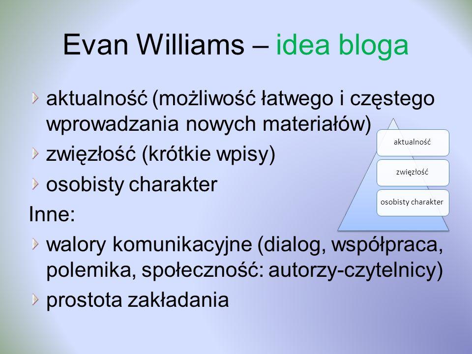 Evan Williams – idea bloga aktualność (możliwość łatwego i częstego wprowadzania nowych materiałów) zwięzłość (krótkie wpisy) osobisty charakter Inne: walory komunikacyjne (dialog, współpraca, polemika, społeczność: autorzy-czytelnicy) prostota zakładania aktualnośćzwięzłośćosobisty charakter