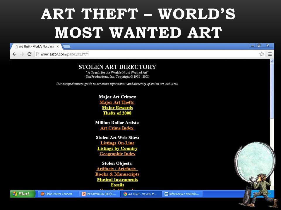 ART THEFT – WORLDS MOST WANTED ART