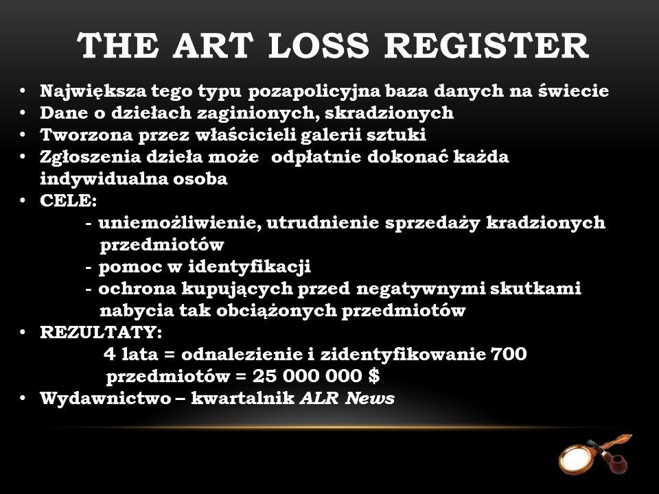 Największa tego typu pozapolicyjna baza danych na świecie Dane o dziełach zaginionych, skradzionych Tworzona przez właścicieli galerii sztuki Zgłoszen