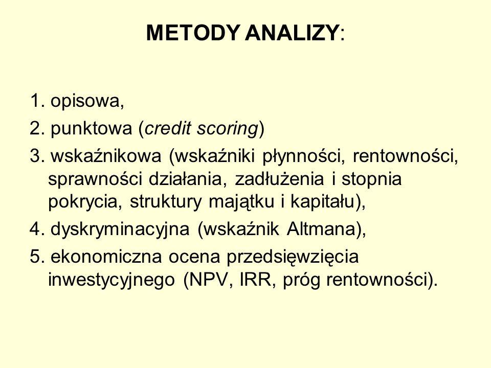 METODY ANALIZY: 1. opisowa, 2. punktowa (credit scoring) 3. wskaźnikowa (wskaźniki płynności, rentowności, sprawności działania, zadłużenia i stopnia