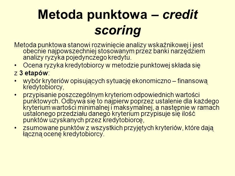 Metoda punktowa – credit scoring Metoda punktowa stanowi rozwinięcie analizy wskaźnikowej i jest obecnie najpowszechniej stosowanym przez banki narzęd