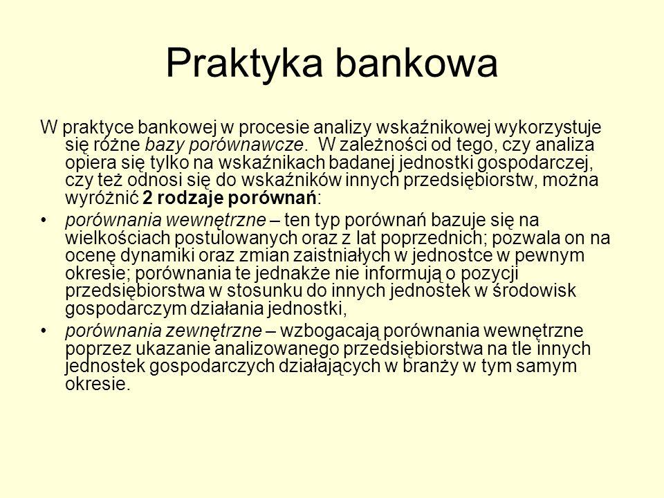 Praktyka bankowa W praktyce bankowej w procesie analizy wskaźnikowej wykorzystuje się różne bazy porównawcze. W zależności od tego, czy analiza opiera